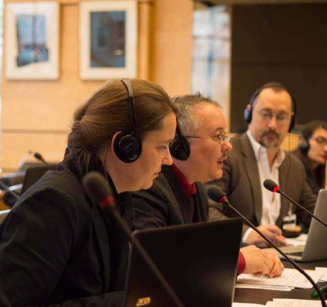 Ev Blaine Matthigack, Dan Ghattas (OII Germany) and Morgan Carpenter (OII Australia), Thematic Briefing on intersex to CRPD, 26 March 2015. Photo by Nigel Kingston, supplied by Diane Kingston OBE