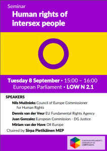 "Poster of the a discussion with Nils Muižnieks, Council of Europe Commissioner for Human Rights in the European Parliament in ""ª#""ŽStrasbourg""¬ on 8 September 2015"