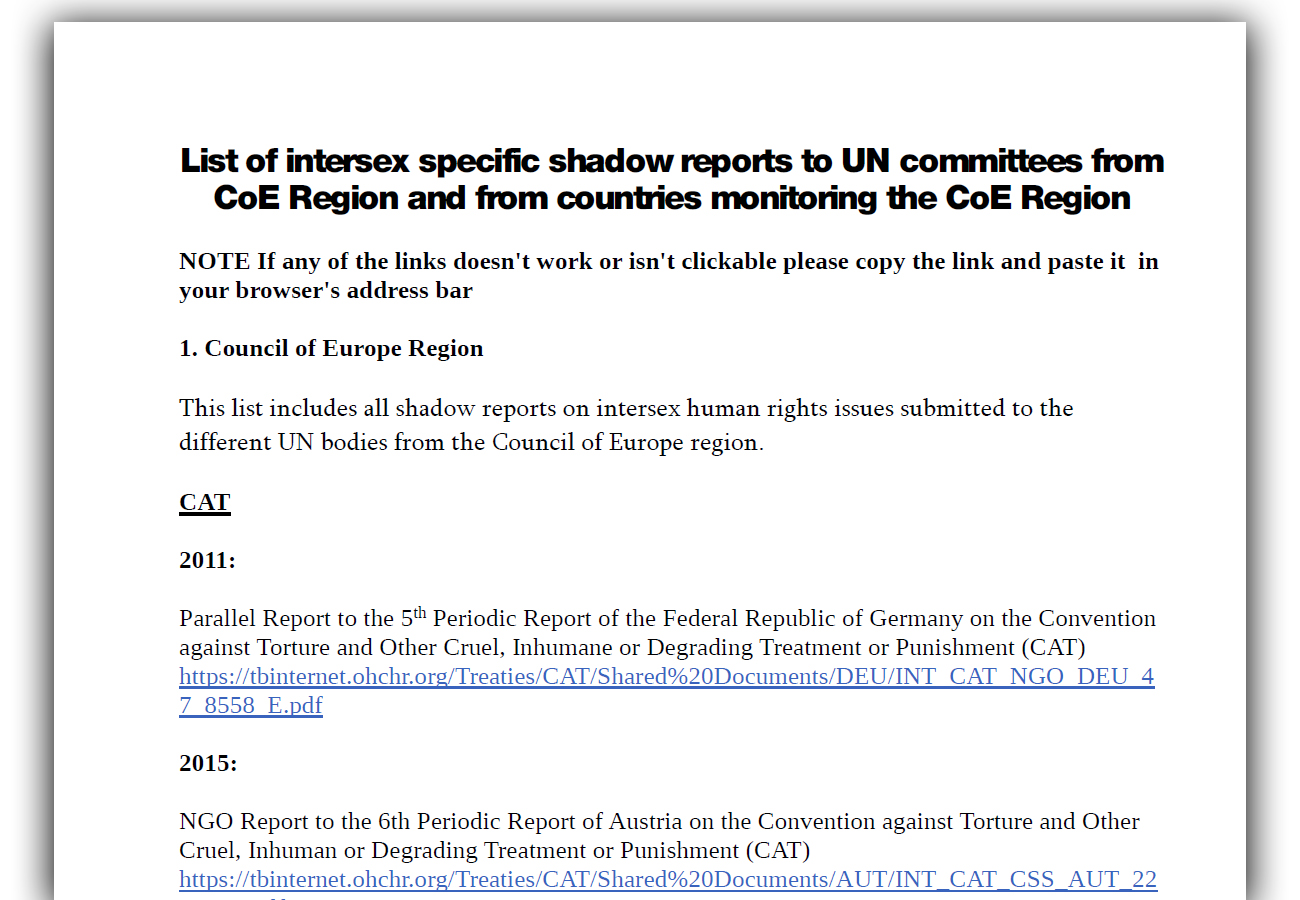 List of intersex specific shadow reports to UN committees from CoE Region and from countries monitoring the CoE Region