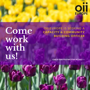field of yellow and purple tulips - text says: come work with us, OII Europe is seeking a capacity and community building officer - see post for details