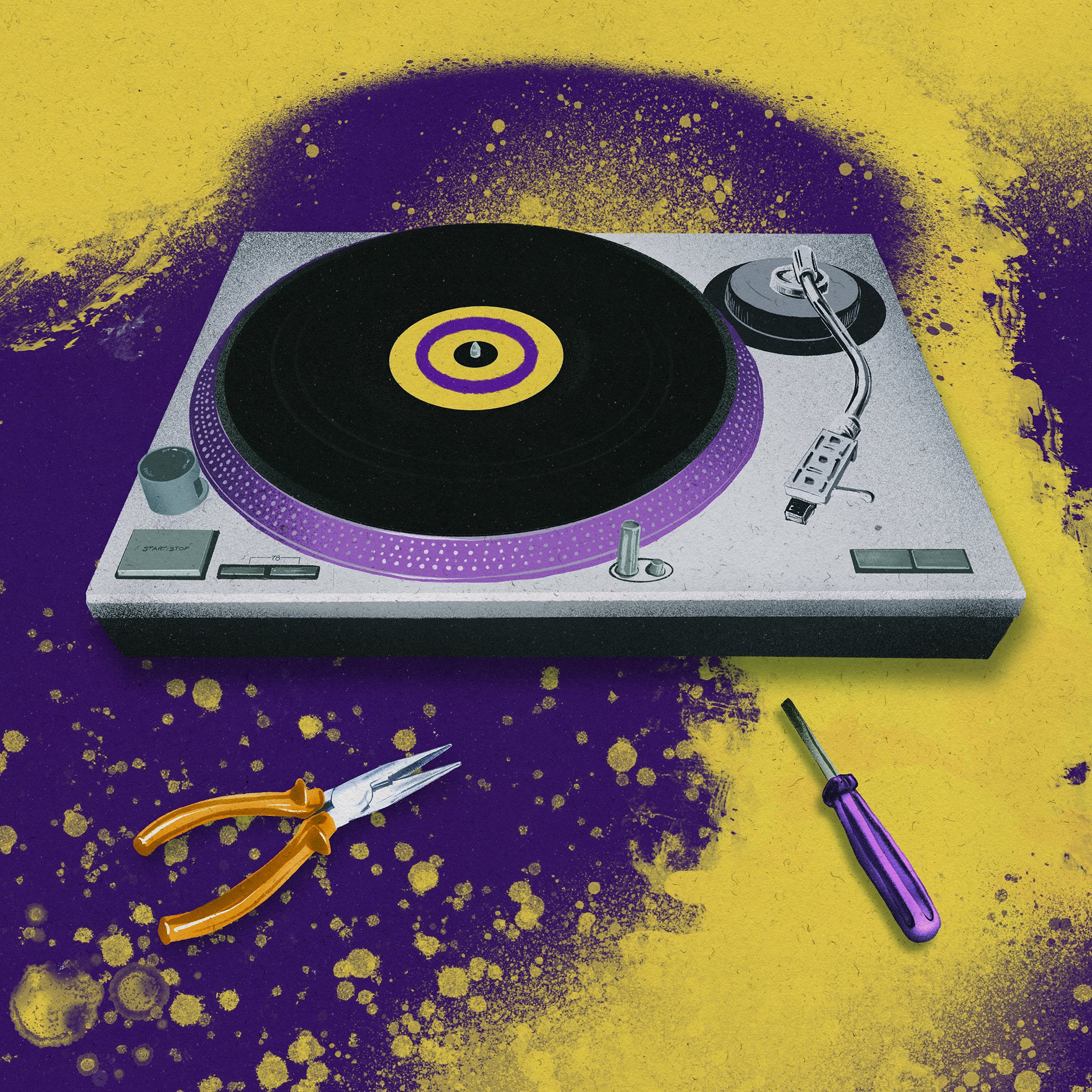 Illustration of Record player in yellow and purple