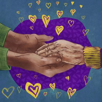 young hands holding old hand and hearts in intersex colors