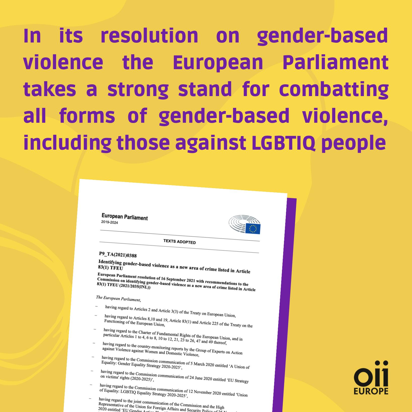 EP resolution on gender-based violence
